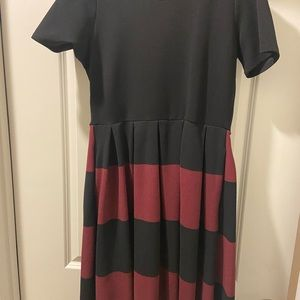 Black and Maroon Dress with pockets